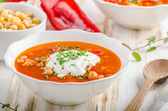 Chickpea soup with pepper Royalty Free Stock Photography