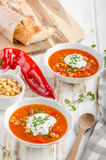 Chickpea soup with pepper Stock Photography