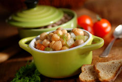 Chickpea soup on the table Stock Images
