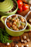 Chickpea soup on the table Royalty Free Stock Photo