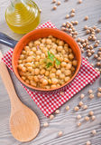 Chickpea soup in terracotta bowl. Royalty Free Stock Images