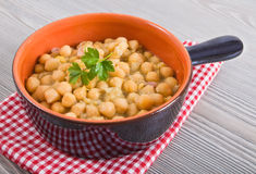 Chickpea soup in terracotta bowl. Royalty Free Stock Photo