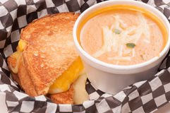 Chickpea and squash soup with grilled cheese. Squash and chickpea soup with a fresh grilled cheese sandwich Stock Photo