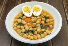 Chickpea stew with spinach Stock Photo