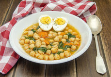 Chickpea stew with spinach Royalty Free Stock Images