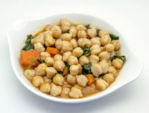 Chickpea stew with spinach Royalty Free Stock Photo