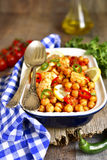 Chickpea stewed with chicken fillet. Stock Photography