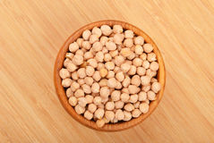 Chickpea in wooden bowl Royalty Free Stock Image