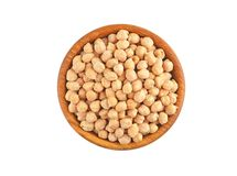 Chickpea in wooden bowl Stock Photos