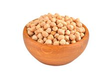 Chickpea in wooden bowl Royalty Free Stock Photos