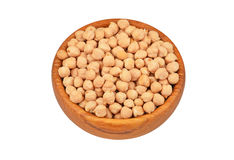 Chickpea in wooden bowl Royalty Free Stock Images