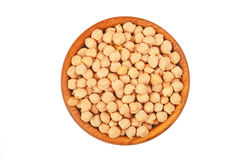 Chickpea in wooden bowl Stock Photo