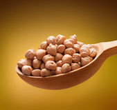 Chickpea in a wooden spoon Stock Image