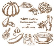 Chickpea,zucchini and pumpkin curry  Ingredients Royalty Free Stock Photos