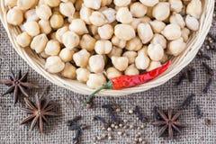chickpeas Συστατικά για τα ινδικά τρόφιμα Στοκ Εικόνες