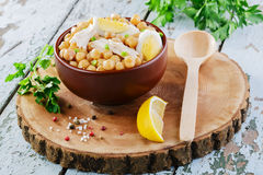 Chickpeas with boiled egg Stock Image