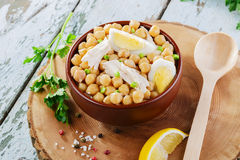Chickpeas with boiled egg Royalty Free Stock Images
