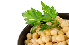 Chickpeas in a brown bowl Stock Photos