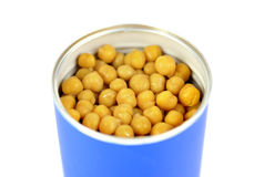 Chickpeas can on white Stock Images