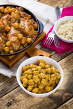 Chickpeas and chicken drumsticks curry Stock Photo