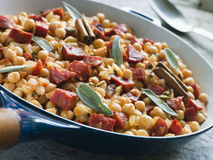 Chickpeas Chorizo Sausage and Sage Royalty Free Stock Photos