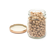 Chickpeas in a class jar Stock Images