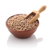 Chickpeas in a clay bowl Stock Image