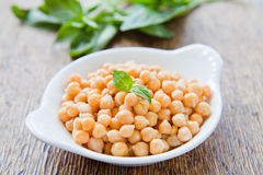 Chickpeas. Cooked chickpeas in white dish, decorated with fresh basil, on wooden background Stock Photos
