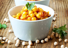 Chickpeas Curry with Parsley Stock Photo