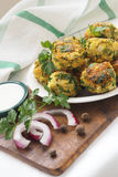 Chickpeas falafel with sauce stock image