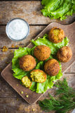 Chickpeas falafel with tzatziki sauce stock photos