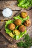 Chickpeas falafel  with tzatziki sauce Stock Photos