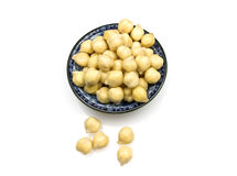 Chickpeas or garbanzo beans. Small handful of chickpeas or garbanzo beans on white background stock photos