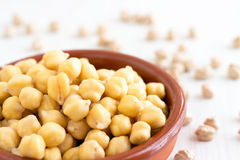 Chickpeas Garbanzo beans. Chickpeas or Garbanzo beans belong to the legume family. They are high in protein and fiber content, contain iron, calcium, magnesium Stock Image