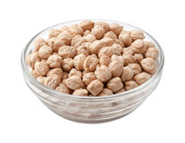 Chickpeas in a Glass Bowl Royalty Free Stock Photography
