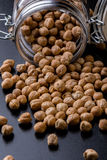 Chickpeas in a glass jar Stock Images