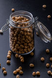 Chickpeas in a glass jar Royalty Free Stock Images