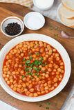 Chickpeas In Tomato Sauce, Top View Stock Photo
