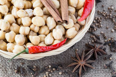 Chickpeas. Ingredients for Indian food. Royalty Free Stock Photography