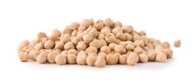 Portion of Chickpeas isolated on white Stock Image