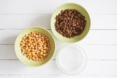 Chickpeas lentil cocnut milk ingredients. Chickpeas lentil cocnut milk ingredients recipe background Royalty Free Stock Images