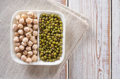 Chickpeas and mung beans Royalty Free Stock Image