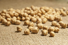 Chickpeas on natural fabric Royalty Free Stock Photo