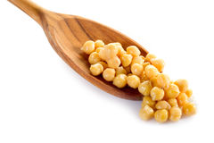 Chickpeas over  spoon Royalty Free Stock Photo