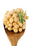 Chickpeas over wooden spoon Royalty Free Stock Photos