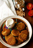 Chickpeas patties. On a plate Royalty Free Stock Photos