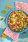 Chickpeas and pepper salad. Royalty Free Stock Images