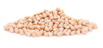 Chickpeas in a pile on a white background Stock Images