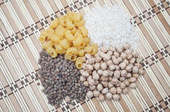 Chickpeas, rice, lentils and pasta pattern. Chickpeas, rice, lentils and pasta formed pattern Stock Photography