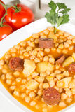 Chickpeas with sausage Stock Photo